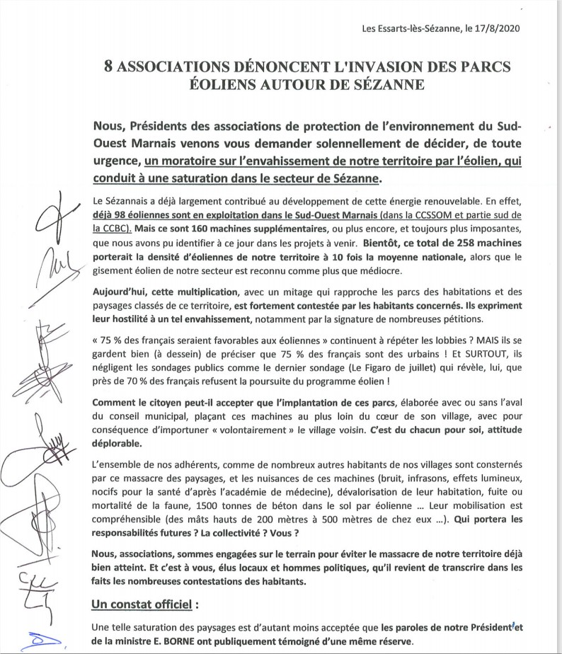 Lettre de demande de moratoire sur l'éolien adressée au préfet de la Marne