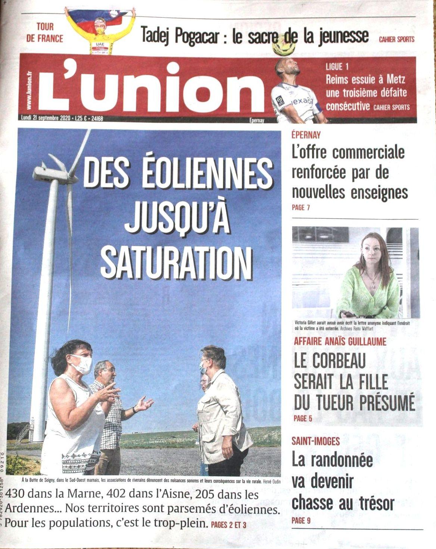 Article dans le journal l'Union 21/09/2020